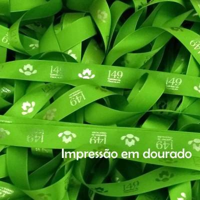 22 mm - Fita de cetim personalizada Verde Folha - rolo com 50 metros