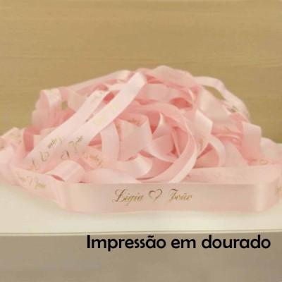 22 mm - Fita de cetim Personalizada Rosa Bebê - rolo com 50 metros