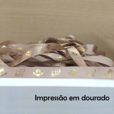22 mm - Fita de cetim Personalizada Chocolate - rolo com 50 metros