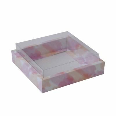 Caixa Coração Lapidado 200g - com borda - Aquarela