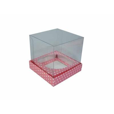 Caixa especial Cupcake - Rosa Com Bolinhas Brancas