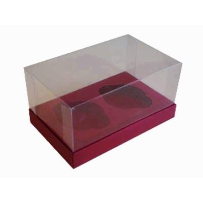 Caixa Vermeho Escuro 2 Cupcakes
