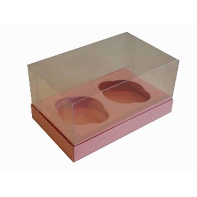 Caixa Rosa Salmão 2 Cupcakes