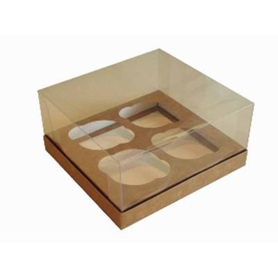 Caixa especial 4 Cupcakes - Kraft