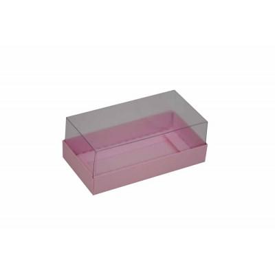 Caixa para 2 macarons deitados - Rosa bebê