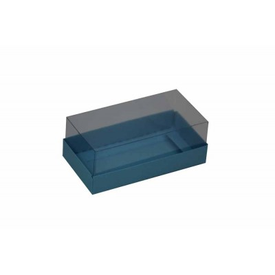 Caixa para 2 macarons deitados - Azul Nice
