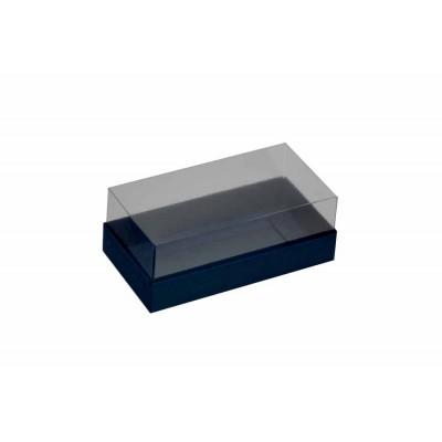 Caixa para 2 macarons deitados - Azul escuro