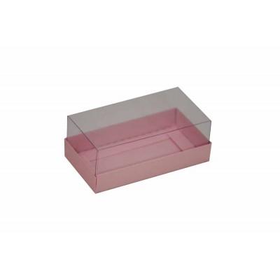 Caixa para 2 macarons deitados - Rosa perolado