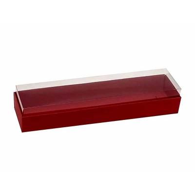 Caixa 4 macarons deitados - Vermelho escuro