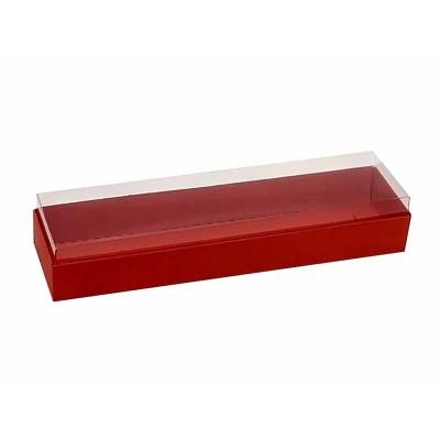 Caixa 4 macarons deitados - Vermelha